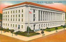 Linen Postcard CA F048 U.S. Post Office Sacramento California Nice Color Street