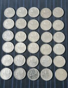 Lot of 30 Canadian Silver Quarters 80% Silver 1965