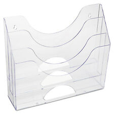 Rubbermaid Three-Pocket File Folder Organizer Plastic 13 x 3 1/2 x 11 1/2 Clear