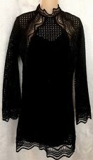 IRO dress Black Embroidered Lace SORIE Long Sleeve Size 36