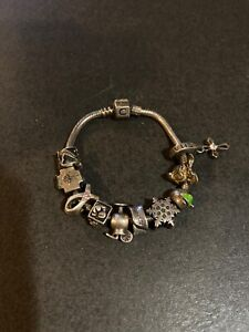 Chamilia Sterling Silver Charm Bead Bracelet with 10 Charms