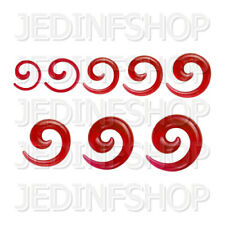 Ear Taper Stretcher Expander - Spiral Snail | 1.6mm-10mm | Red Solid Acrylic