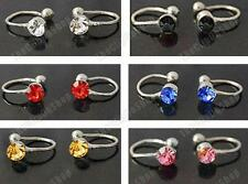 6 x U CLIP ON silver earrings PINK,BLUE,BLACK,AMBER,RED fake studs non-pierced