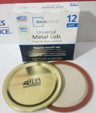 Mainstays Universal Metal Canning Lids Regular Mouth Size Jars 12 Lids Per Pack