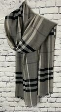 Burberry Check Wool and Silk Lightweight Gauze Weave Scarf 84 x 14