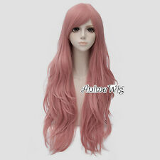80CM Lolita Anime Lady Pink Long Wavy Halloween Cosplay Wig Heat Resistant+Cap