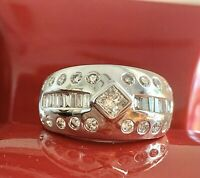 14K.W.G. WIDE NATURAL 1.70CT F-G/VS BAGUETTE ROUND DIAMOND RING WEDDING BAND 7.5