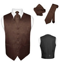 Men's Paisley Design Dress Vest & NeckTie BROWN Color Neck Tie Set for Suit Tux