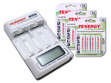 Combo: Tenergy AA/AAA NiMH LCD Battery Charger + 3 Cards Centura AA Batteri