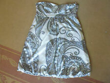 LADIES CUTE GREY MULTI COLOUR LINED STRAPLESS POLY DRESS BY SUPRE SIZE L 12/14