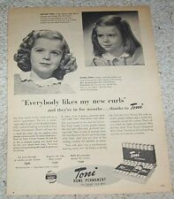 1947 print ad - Toni home perm hair Little GIRL Susan Reymond curls Vintage PAGE