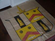 Vintage Heraldic Fork Art Hand Painted Linen Banner Flag Fishing Duck Hunting