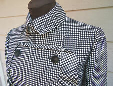 NEW $3400 Valentino Wool/Silk Houndstooth Ruffled Coat 4 6 Black White