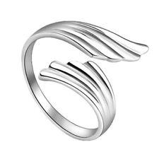 1X(Chic Mode Silber Doppel EngelsflÜGel Öffnen Einstellbare RING Geschenk I9Q9)