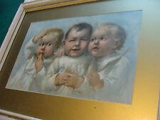 large Vintage Framed Chromolito print of 3 babies, 1890 Henry IHLEFELD