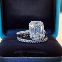 2.5 Ct Emerald Cut Diamond Bridal Set Engagement Ring 14K White Gold Over All Sz