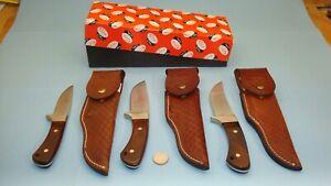1965 - 1980 SET OF 3 CASE XX USA R703 R603 R503 SSP FIXED BLADE KNIFE W/ SHEATHS