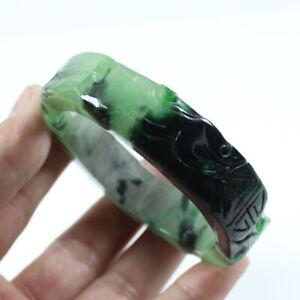 61mm Chinese Hand-carved Green Black Jade Jadeite Gems Bangle Bracelet a3399