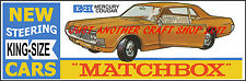 Matchbox King Size K-21 Mecury Cougar Poster Leaflet Advert Shop Sign from 1969