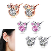 Women's Fashion Jewelry Rose Gold Silver Mouse Shaped Stud Earrings Rhinestone