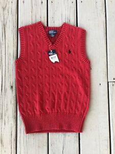 New NWT Polo Ralph Lauren Boys size 8 red Cotton Cable sweater Vest