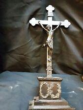 antik Eisen ALTARKREUZ Kruzifix Standkreuz Jesus Christus am Kreuz - 42cm hoch