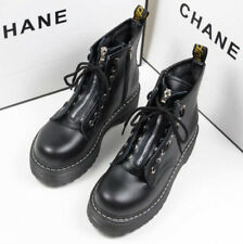 Womens Creepers Chunky Cleated Platform Front Zip Warm Lined Ankle Boots Shoes