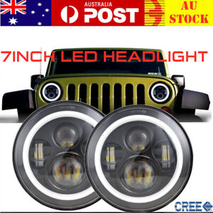 Pair 7inch CREE LED Headlight Hi-Lo Beam DRL Halo For Nissan Patrol GQ 1988~1999