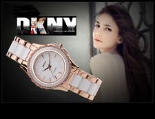 DKNY WOMEN'S LUXURY CERAMIC 2 TONES COLLECTION WATCH NY8821
