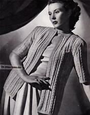 1940's SHORT & LONG SLEEVED CABLE JACKET - COPY vintage ladies knitting pattern