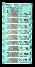Rs 50/- Latest Issue GEM UNC SOLID Set 001000 - 009000 ( 9 Notes) UNIQUE!