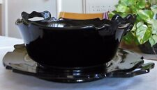 Lot of 2 Depression Glass Plate & Bowl Black Amethyst Mt. Pleasant Smith Glass