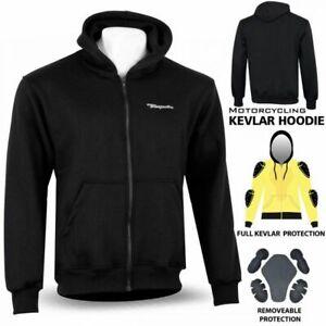 Motorcycle Motorbike Fleece Hoodie Jacket Removable Protective CE Armoured Black