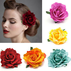 2x Fabric Rose Flower Large Hair Clamp Claw Clip Corsage Wedding Bridal Hairpin#