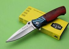 Couteau Pliant de Poche BUCK Lame Acier 10 cm Manche Bois 12,5 cm Outdoor