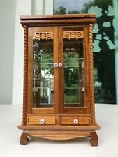 Handmade Vintage Wood and Glass Display Carbinet Thai Craft  for Decoration and