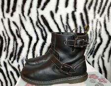 Dr Martens AIR WAIR Gayle Black Buckle Leather Biker Boots SIZE 9 EXCELLENT COND