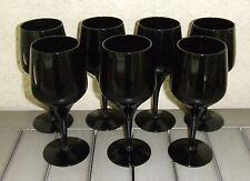 Set of 7 Vintage Blown Glass Water Wine Goblets Morgantown Jet Black Holiday
