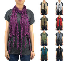 12 PCs Wholesale Women's Furball Fringe Lace Scarf Embroidery Tassel Sheer