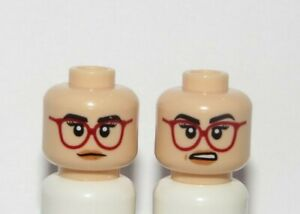 Lego 1 Flesh Minifigure Reversible Head Female Girl Red Glasses