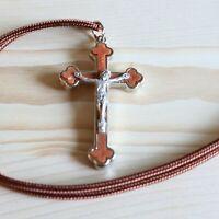 Crucifix Pendant Brown Paracord Metal Brown Christ Cross Catholic Necklace