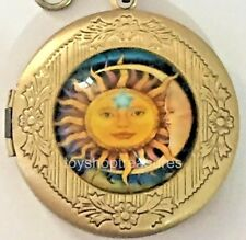 New Vintage Style Sun Moon Star Locket Necklace - Antique Brass bf