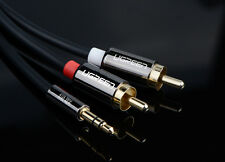 9ft Premium AUX Audio Cable -Stereo 3.5mm male to 2RCA Gold For IPOD TV DVD