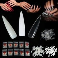 500X Long Stiletto Pointy False Nail Tips 10 SIZE Natural/Clear/White Art