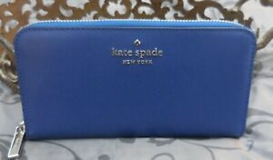 Kate Spade~STACI Large Leather Continental Zip Around Wallet~RIVER BLUE~NWT $229