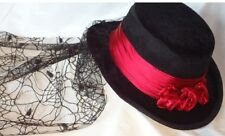 Stage Coach Gothic Black Maroon Touring Costume Hat Web Lace Design Back Veil