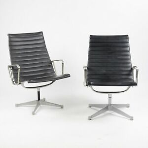 Early Pair Eames Herman Miller Aluminum Group Lounge Chairs, Charcoal Upholstery