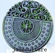 Antique Ancien sculpté à la main chinois oriental Amulette Pendentif Pierre Jade Miao bouddhiste
