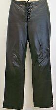 Ralph Lauren Black Leather Pants Womens 2 Lace Front