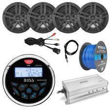 "Bluetooth Radio, 4x 6.5"" Speakers, 4-Ch Amp, 50Ft Wire, Antenna, USB Mount"